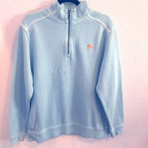 Tommy Bahama Blue Cotton 1/4 zip - Large
